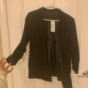 Oversized V Detail Ruched Black Blazer NEW W TAGS
